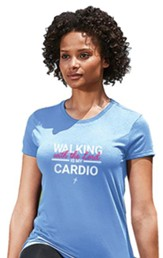 Walking With the Lord Is My Cardio Shirt, Blue, Medium