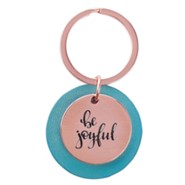 Be Joyful Keyring, Rose Gold and Pink