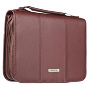 Grace Bible Cover, Genuine Leather, Burgundy, Medium