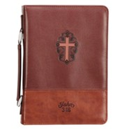 John 3:16 Bible Cover with Cross, LuxLeather Brown, Large