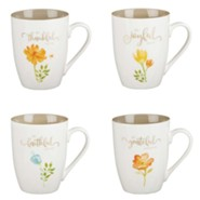 Grateful Ceramic Mugs, Floral, Set of 4
