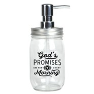 God's Promises Are New Every Morning, Mason Jar Glass Soap Dispenser