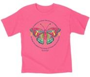 Butterfly Shirt, Safety Pink, Youth Large