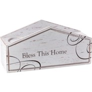 Bless This Home Pillar Candle Holder, Wooden