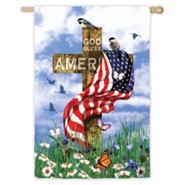 God Bless America Cross Flag, Large