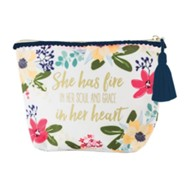 She Has Fire In Her Heart and Grace In Her Soul Zippered Pouch, Amelia Floral