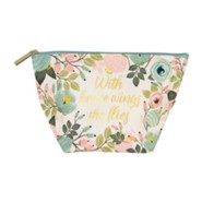 With Brave Wings She Flies Pouch, Peach Floral