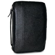 Leather Bible Cover, Black, Medium