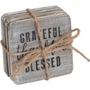 Thankful Wood Coasters, Set of 4