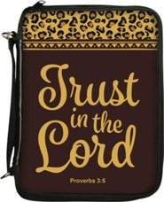 Trust in the Lord Bible Cover, Brown and Leopard Print