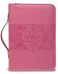 1 Corinthians 14:1, Bible Cover, Pink, Medium