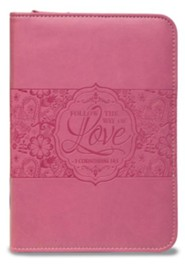 1 Corinthians 14:1 Zipper Journal, Pink
