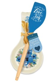 Your Love Has Given Me Great Joy Spoon Rest/Spatula Gift Set, Blue