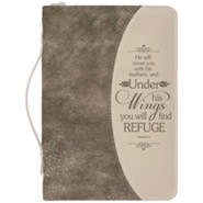 Psalm 91:4 Bible Cover, Gold Flecked Brown, Medium