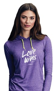 Love Wins, Hooded Long Sleeve Shirt, Heather Purple, Large