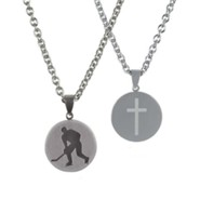 Hockey Necklace for Him, Stainless Steel