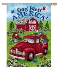 God Bless America, Truck and Barn, Flag, Large