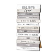 Believe God, Stacking Words Desktop Plaque