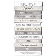 Believe God, Stacking Words Plaque