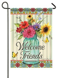 Welcome Friends (floral in jar), Small Flag