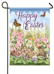 Happy Easter, Flower Bunnies, Flag, Small