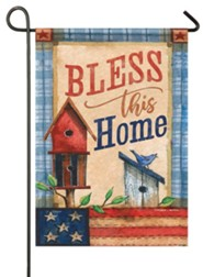 Bless This Home, Patriotic Patchwork, Flag, Small