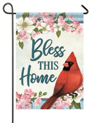 Bless This Home, Cardinal and Blossoms, Flag, Small