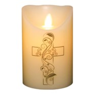 Flameless LED Candle, Ivory with Cross, 5 Inches
