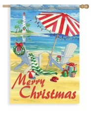 Coastal Holiday Chairs, Merry Christmas Flag, Large