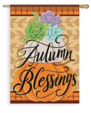 Pretty Pumpkin Stack, Autumn Blessings Flag, Large