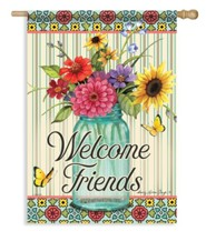 Welcome Friends (floral in jar), Large Flag