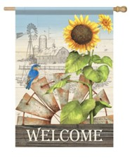 Welcome, Windmill, Farm, Flag, Large