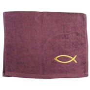 Ichthus Fish Pastor Towel, Burgundy