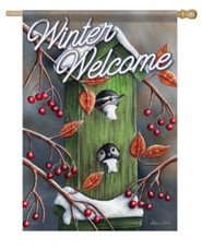 Winter Welcome, Chickadees, Flag, Large