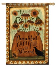 Thankful Grateful and Blessed Flag, Large