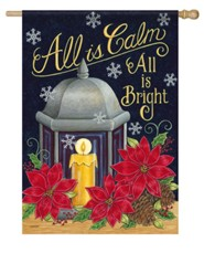 All Is Calm All Is Bright, Lantern, Candle, Large