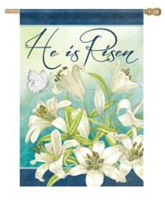 He Is Risen, Blooming Lilies, Flag, Large