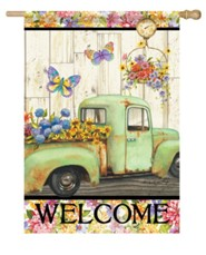 Welcome, Pickup Truck, Fresh Flowers, Flag, Large