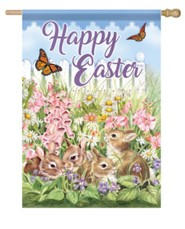 Happy Easter, Flower Bunnies, Flag, Large