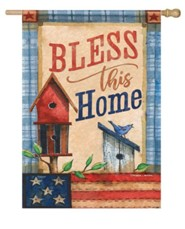 Bless This Home, Patriotic Patchwork, Flag, Large