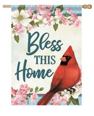 Bless This Home, Cardinal and Blossoms, Flag, Large