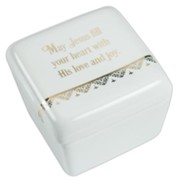May Jesus Fill Your Heart with His Love and Joy Keepsake Box, White
