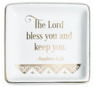 The Lord Bless You and Keep You Trinket Dish, White
