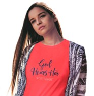 God Hears Her, Regular Fit Tee Shirt, Coral Silk, Adult Large