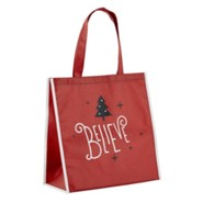 Believe, Christmas Tree, Tote Bag, Red