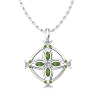 Cross Birthstone Pendant on Sterling Silver Chain, August