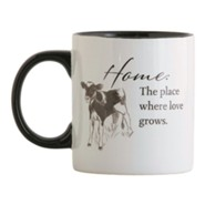 Home, the Place Where Love Grows, Calf Ceramic Mug