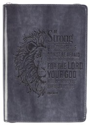 Be Strong and Courageous, Lion, Journal, LuxLeather, Black