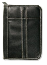 Distressed Leather Look Bible Cover, Black, Medium