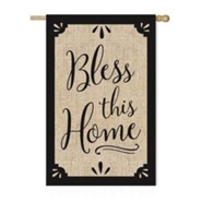 Bless This Home Burlap Flag, Large